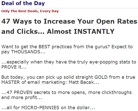 47 Ways To Increase Your Open Rates and Clicks – Matt Bacak WSOofDay632014verbiage