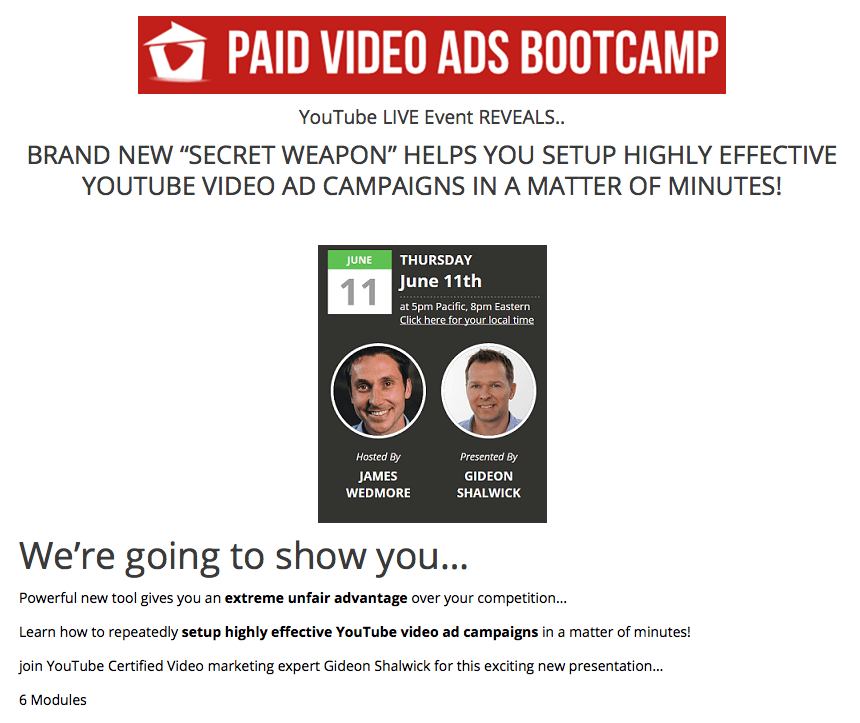 James Wedmore - Paid Video Ads Bootcamp