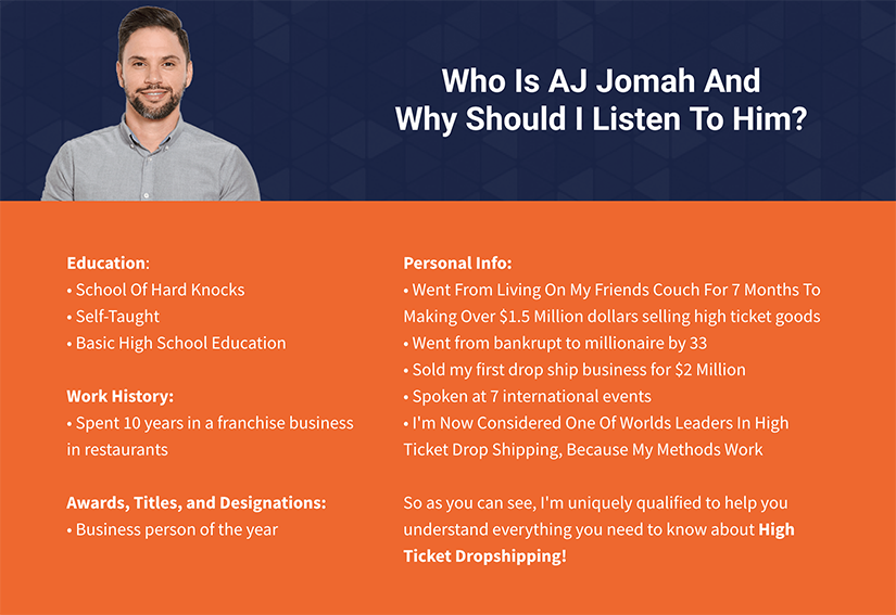 Get] AJ Jomah – 7 Figure Skills – High Ticket Dropship